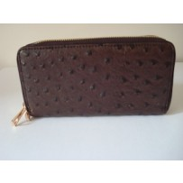 Mini double zipper clutch brown ostrich