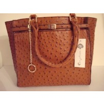 Tan Leather Ostrich Tote Handbag