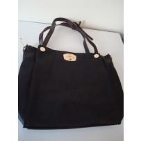 Square Black Leather Tote Handbag