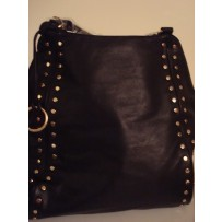 Black Leather Tote Purse With Faux Gold Studs