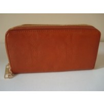 Leather Mini Double Zipper Clutch -Tan