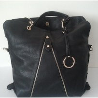 Black Leather Tote Purse With Exposed Zipper