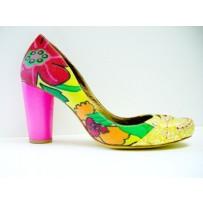 Fashionable Pink Heel Fabric Shoe