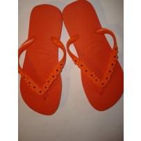 Havaiana Orange Skinny Flip-Flop w/ Daisies
