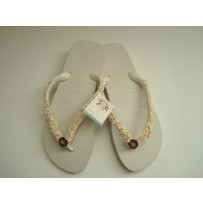 Havaiana Cream  Flip-Flop w/ Stones + Wood Medallion