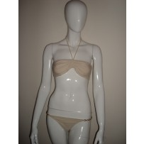 Flavia two piece cream swimsuit w/ halter gathered top and chain strap bottom