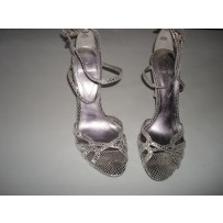 Guess Strappy Silver Leather Sandal