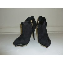 Luchiny Black Suede Ankle Boot w/ Side Zipper