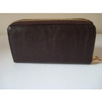 Mini Leather Double  Zipper Clutch- brown