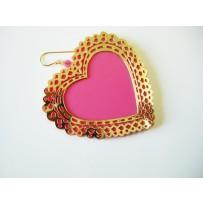 PINK HOT HEART EARRINGS