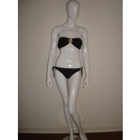 POLLY BLACK RUFFLE 2 PIECE BIKINI W/ GOLD FLOWER SHAPED MEDALLION IN CENTER OF TOP