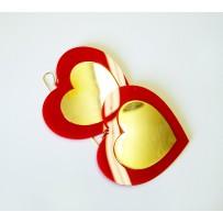 RED FULL OF LOVE HEART EARRINGS