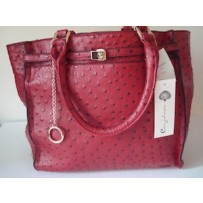 Red Leather Ostrich Tote